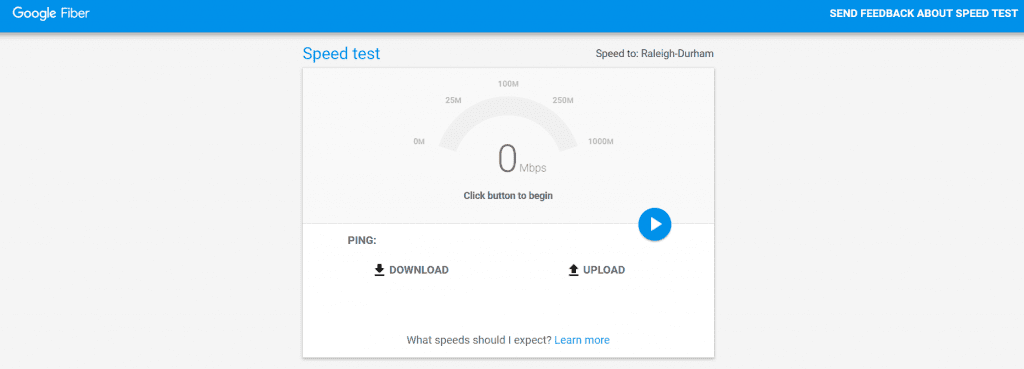 موقع Google Fiber Speed Test لقياس سرعة النت